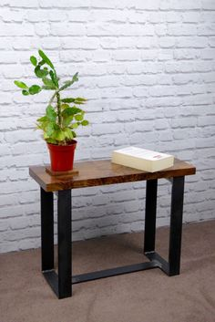American Black Walnut and Steel End Table, Side Table, Modern Industrial Chic by escafell on Etsy https://www.etsy.com/uk/listing/459892870/american-black-walnut-and-steel-end