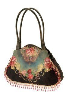 Michal Negrin Black Leather Shoulder Bag Made of Printed Velvet with Swarovski Crystals, Beaded and Lace Strips and Imitation Leather Dual Shoulder Straps,