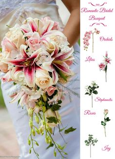 Romantic Bridal Bouquet.  Fill your bouquet with orchids, lilies, roses and more.  Think silk flowers for your bouquet and create a lasting keepsake.  Afloral.com has DIY Bouquet tutorials and high-quality faux flowers to make your dream wedding bouquet a reality.