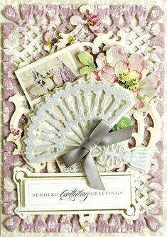 Mini French Fan Cut and Emboss Dies - Anna Griffin Card Making Kits, Making Ideas, Handmade Birthday Cards, Greeting Cards Handmade, Anna Griffin Cards, November, Easel Cards, Card Patterns, Scrapbook Cards
