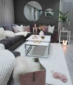 Apartment Living Room Decor Grey House Ideas For 2019 Big Living Rooms, Glam Living Room, Living Room Sofa Design, Living Room Decor Cozy, Living Room Designs, Small Living, Living Room Ideas With Grey Couch, Barn Living, Modern Living