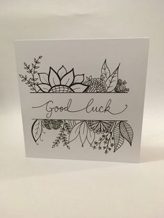Card Calligraphy Doodles, Doodle Lettering, Hand Lettering, Good Luck Cards, Zentangle, Card Making Inspiration, Watercolor Cards, Diy Cards, Easy Drawings