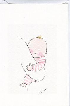 Baby girl card by HeatherTatumCards on Etsy, £2.50
