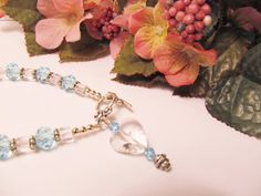 Clear and Blue Crystal #Bracelet with Crystal Heart by #RomanticThoughts, $18.00