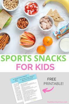 21 Ideas for nutritious sports snacks for your kids! Free printable list for the fridge! Sports Snacks, Team Snacks, Pasta With Meat Sauce, Whole Grain Cereals, Meat Sandwich, Snacks Ideas, Fruit Cups, Nutritious Snacks, Protein Pack