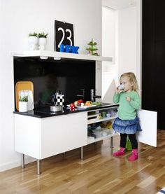 Would love to have this as a toy kitchen. So very cool!! ikea cabinets as a play kitchen