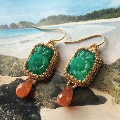Gypsea Earrings - Carved Jade and Sunstone #kauai #hawaii