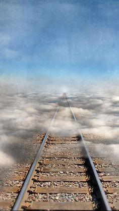 Train Tracks Into the Clouds by Jill Battaglia Beautiful Roads, Beautiful Places, Trains, Old Steam Train, Railroad Pictures, Abandoned Train, Bonde, Train Art, All Nature