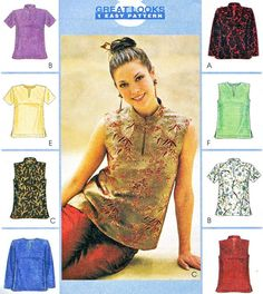 Womens Side Slit Blouse Sewing Pattern McCalls 9281 by paneenjerez, $8.00