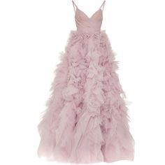 Monique Lhuillier     V-Neck Tiered Ball Gown ($9,495) ❤ liked on Polyvore featuring dresses, gowns, v neck evening dress, pink evening dress, pink gown, deep v-neck dress and v-neck dresses
