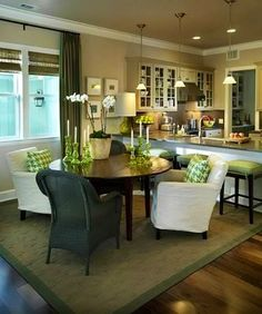 Kitchen through dining room