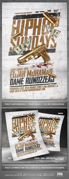 Hip Hop Sundays Party Flyer Template — Photoshop PSD #festival #minimal • Download ➝ https://graphicriver.net/item/hip-hop-sundays-party-flyer-template/19156378?ref=pxcr