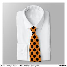 Black Orange Polka Dots - Necktie #zazzle #necktie #polkadots #orange #black