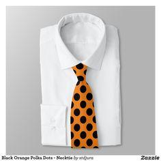 Black Orange Polka Dots - Necktie #zazzle #necktie #polkadots #orange #black