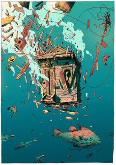 Shack Meet Sea - The Art Of Animation - Killer Illustrations Graphic Arts