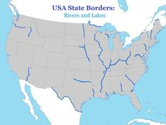 USA State Borders: Rivers and Lakes