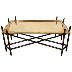 Hollywood Regency Brass and Faux Bamboo Coffee Table | From a unique collection of antique and modern coffee and cocktail tables at http://www.1stdibs.com/furniture/tables/coffee-tables-cocktail-tables/