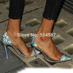 Exclusive women hologram leather high heels transparent PVC pumps pointed toe pump metallic silver and gold dress shoes   US $59.80