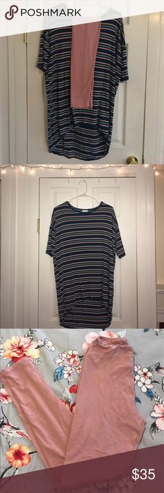 LuLaRoe OUTFIT! XXS Irma and OS Leggings XXS pink/blue striped Irma and OS light pink leggings. Pair PERFECTLY together. Only worn once, very soft/comfortable! Can also buy separately! LuLaRoe Other Lula Roe Outfits, Pink Leggings, Fashion Design, Fashion Tips, Fashion Trends, Blue Stripes, Pink Blue, Summer Dresses, Collection