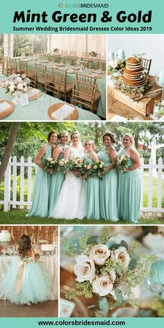 Summer wedding color ideas-mint green and gold, mint green bridesmaid dresses, gold chairs and table set-ups and soft yellow wedding flowers. #colsbm #bridesmaids #mintgreendress #weddingideas #mintgreenwedding b1069