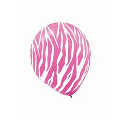 Zebra Bright Pink & White Latex Balloons 6ct | Wally's Party Supply Store #WallyVDay15