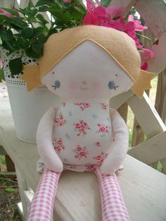 Cloth doll made by me using a Bit of Whimsy pattern