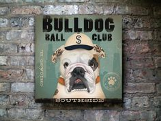 Bulldog baseball club chicago white sox original graphic art on canvas 12 x 12 x 1.5 by stephen fowler.