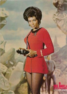 "SALUTING NICHELLE NICHOLS...  ""Uhura"" comes from the Swahili word UHURU meaning ""freedom."" Uhura was pretty much the 1st black female main character on TV. -      Free Angela's photo"