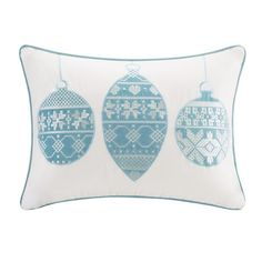 #MadisonParkDreamSpace  Bring the holiday spirit into your home with this ornament velvet decorative pillow. Aqua appliqued ornaments combined with embroidery detail, makes this accent piece the perfect holiday addition to your current décor. Features a hidden zipper closure and polyester filling for the utmost comfort.