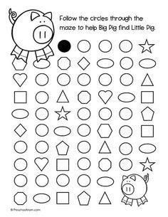 Shape Mazes for Preschoolers - Preschool Mom Shape Worksheets For Preschool, Mazes For Kids, Shapes Worksheets, Preschool Shapes, Book Activities, Preschool Activities, Educational Activities, Diy Busy Books, Body Parts Preschool