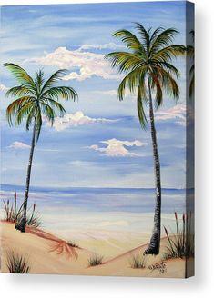 Beach Painting - Beach Scene by Gloria E Barreto-Rodriguez Beach Scene Painting, Easy Canvas Painting, Painting & Drawing, Watercolor Paintings, Canvas Art, Beach Paintings, Beach Drawing, Canvas Paintings, Beginner Painting