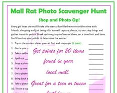Printable Photo Scavenger Hunt for Teens and Tweens Girls   Etsy Girls Birthday Party Games, 9th Birthday Parties, Slumber Parties, Girl Birthday, Sleepover Activities, Printable Activities For Kids, Party Printables, All About Me Printable, School Quiz