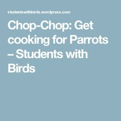 Chop-Chop: Get cooking for Parrots – Students with Birds
