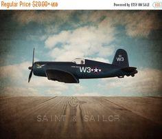 FLASH SALE til MIDNIGHT Vintage Wwii F4 Corsair on Vintage Sky Background, Photo Print, Boys Room, Boys Nursery Decor, Airplane Room