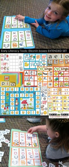 Some of my Early Literacy Tools: Elkonin set activities in action - completing CVC words in a File Folder Game format.