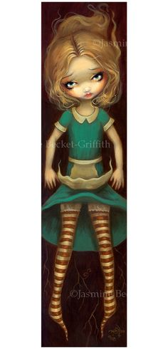 Alice in Wonderland: Alice Descending – from my newest Alice in Wonderland series (focusing more on a slightly grown-up yet still doll-like Alice character). This is a wonderful, fun piece – tall & skinny shaped painting – Alice falling deeper past the roots, down down down the rabbit hole. I love the Alice stories – …