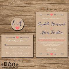 Rustic Wedding Invitation Suite, Response Card, Monogram - PRINTABLE files - garden wedding, hearts arrows, coral navy, kraft paper - Emily