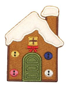 ID #8089 Gingerbread House Christmas Candy Home Felt Iron On Applique Patch