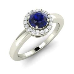 Round Sapphire and Diamond Halo Engagement Ring in 14k White Gold