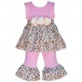 AnnLoren Baby Girls Pink Leopard Rumba Ruffle Tunic Capri Outfit Set 12-24M - SophiasStyle.com