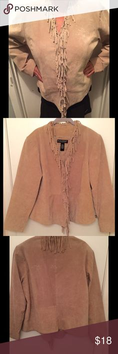 Dialogue Fringed Suede Leather Jacket ⭐️HP⭐️ Fun fringed suede leather jacket by Dialogue. Three hook and eye closures to wear closed or open. Looks great with boots, jeans or a skirt! Design is waist flattering in L. Barely worn. Dialogue Jackets & Coats