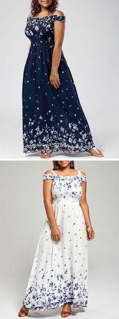 dresses casual:Cold Shoulder Maxi Dress