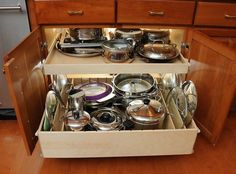 Pull Out Shelves with Dividers - contemporary - cabinet and drawer organizers - chicago - by ShelfGenie of Chicago Pull Out Kitchen Shelves, Pull Out Shelves, Kitchen Pulls, Pull Out Drawers, Kitchen Drawers, Kitchen Pantry, New Kitchen, Kitchen Cabinets, Kitchen Ideas