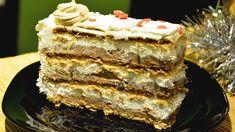 Scheherezade Cake with Chocolate Pudding - No Bake Chocolate Cake with Turkish Biscuit No Bake Chocolate Cake, Chocolate Pudding, Nougat Cake, Bingo Cake, No Bake Desserts, Dessert Recipes, Torte Recepti, Macedonian Food, Jaffa Cake
