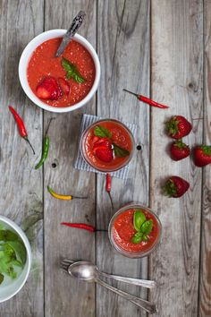 Simple Spicy Strawberry Gazpacho