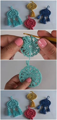 Crochet Super Easy Dreamcatcher Keychain Crochet Super Easy Dreamcatcher Keychain You are in the right place about Crochet patrones Here we offer you the most. Crochet Video, Easy Crochet, Knit Crochet, Crochet Keychain Pattern, Crochet Earrings Pattern, Crochet Dreamcatcher Pattern Free, Dreamcatcher Keychain, Knitting Patterns, Crochet Motif