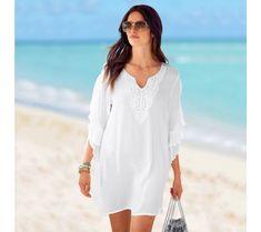 Macramé plážová tunika   blancheporte.cz #blancheporte #blancheporteCZ #blancheporte_cz #newcollection #jaro #leto #summer #spring Cover Up, White Dress, Spring, Beach, Style, Dresses, Fashion, Tunic Blouse, Woman Clothing