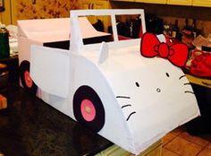 Cardboard Box Car Hello Kitty Cardboard Car, Cardboard Furniture, Cardboard Crafts, Diy Projects For Kids, Crafts For Kids, Hello Kitty Car, Family Fun Night, Halloween Carnival, Diy For Girls