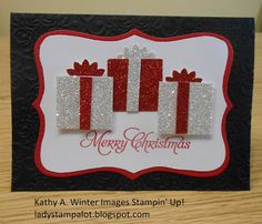 handmade Christmas card .... trio of punch art packages cut from silver and red glitter paper ... Stampin' Up!