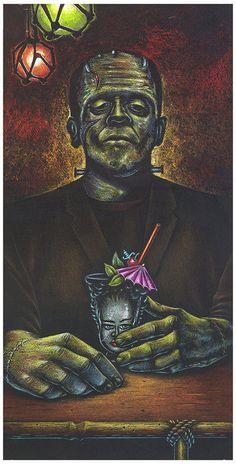 Doug Horne Tiki Art Frankenstein Monster LE Print